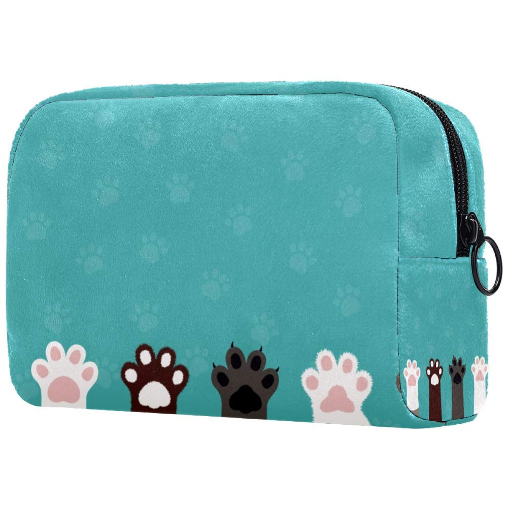 Cat Paws Kitten Cute Cat Foot Makeup Bags Portable Tote Cosmetics Bag Travel Cosmetic Organizer Toiletry Bag Make-up Cases for Women