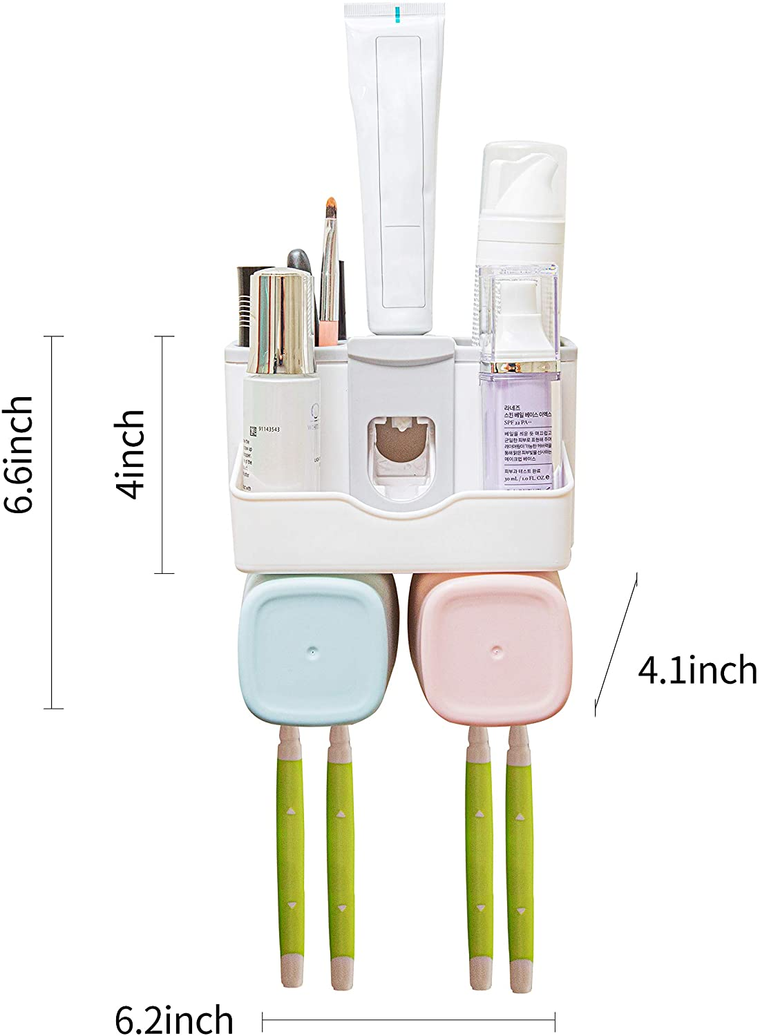 LAZYCOTTAGE Toothbrush Holder Multifunctional Wall-Mounted Space-Saving Toothbrush and Toothpaste Squeezer kit for a Family of Two