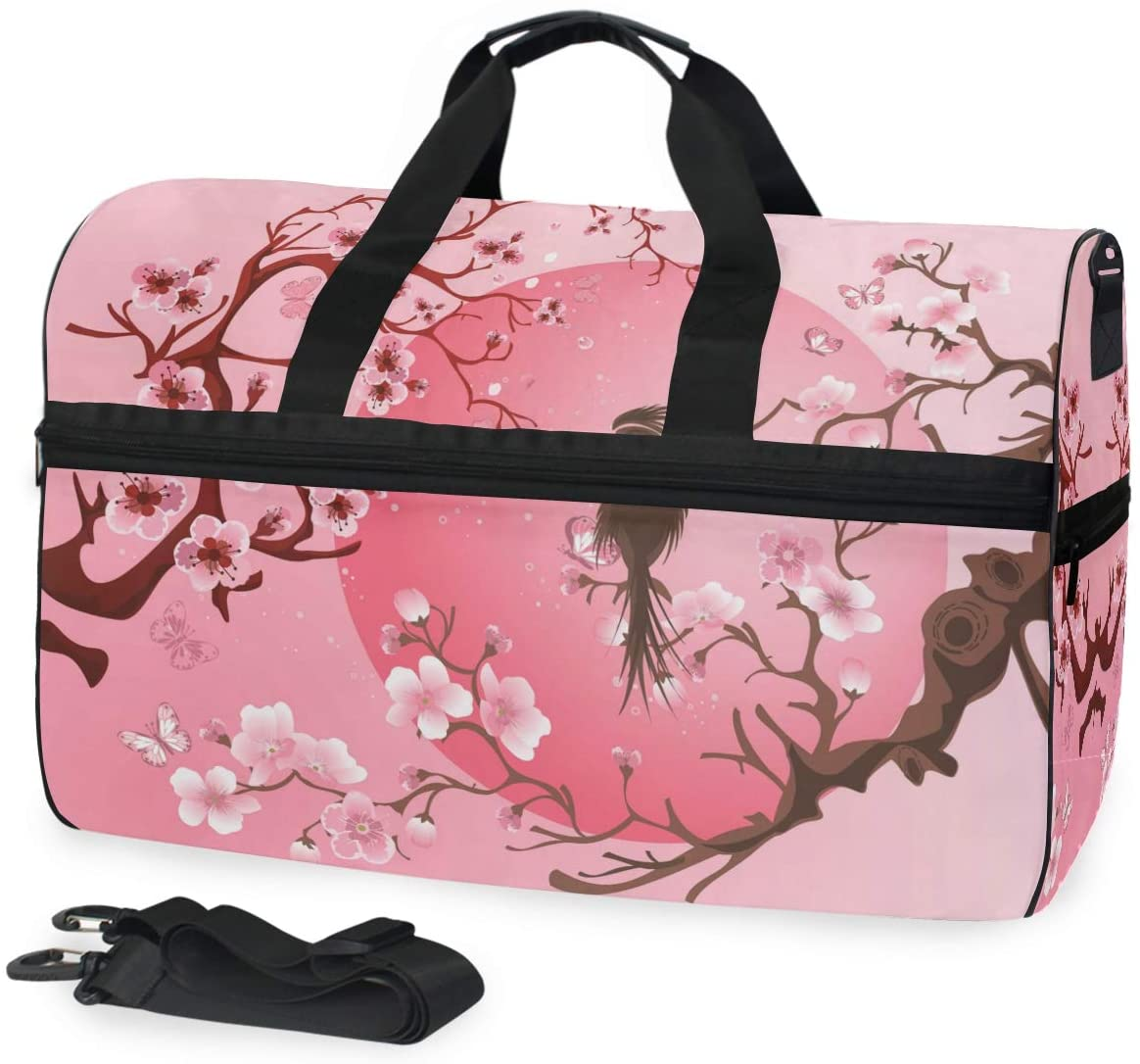 ALAZA Japanese Cherry Blossom Sakura with Bird Sports Gym Duffel Bag Travel Luggage Handbag Shoulder Bag with Shoes Compartment for Men Women