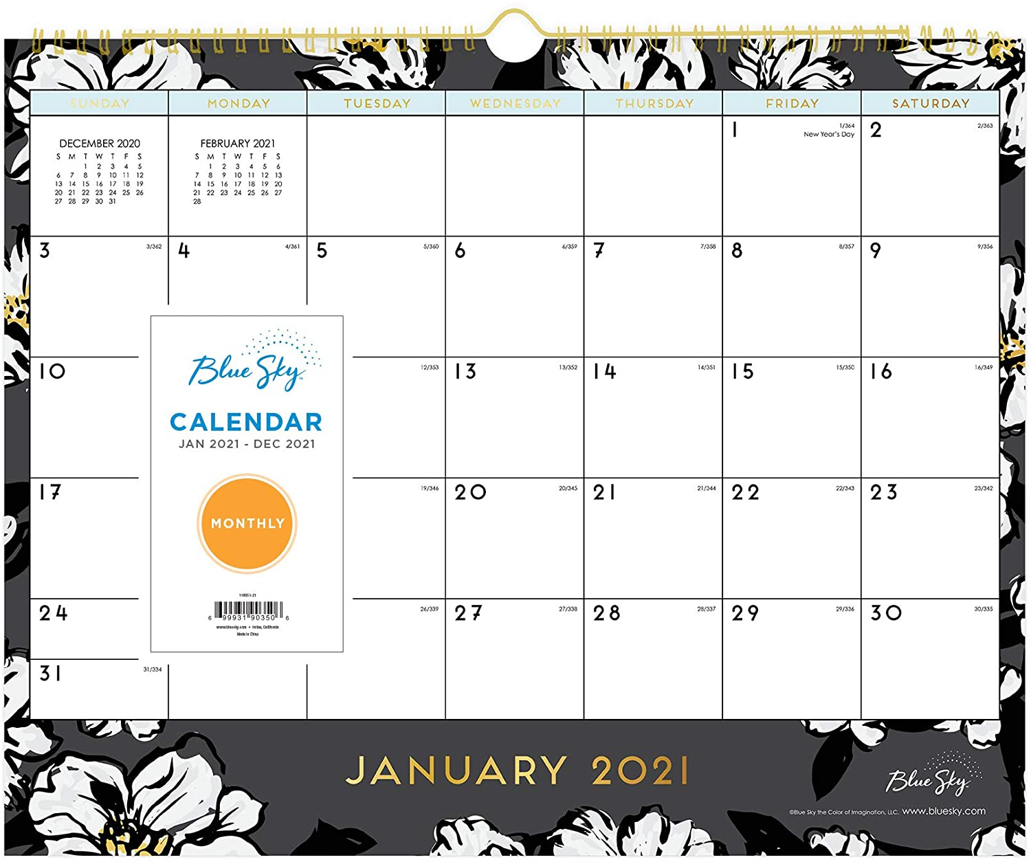 Blue Sky 2021 Monthly Wall Calendar, Gold Twin-Wire Binding, 15