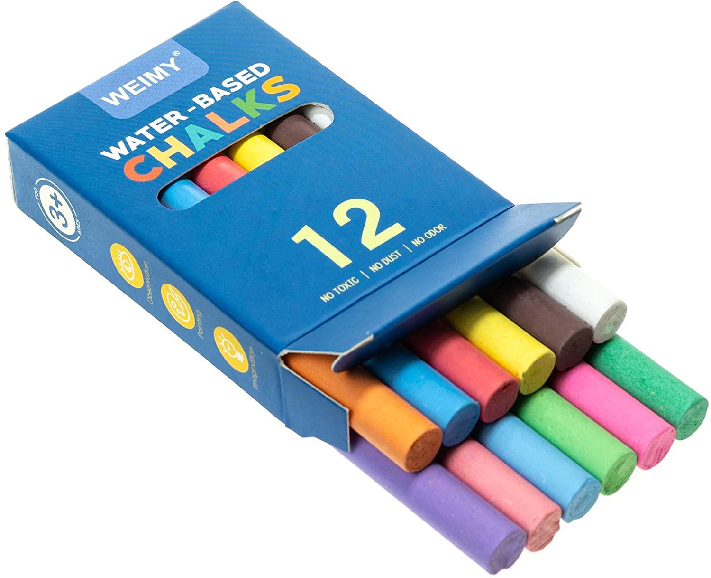 Non-Toxic Premium White Dustless Chalk (12 ct Box) and Colored Dustless Chalk (12 ct Box) Truly Dust Free Chalk for Art, Decorating (colored-small)