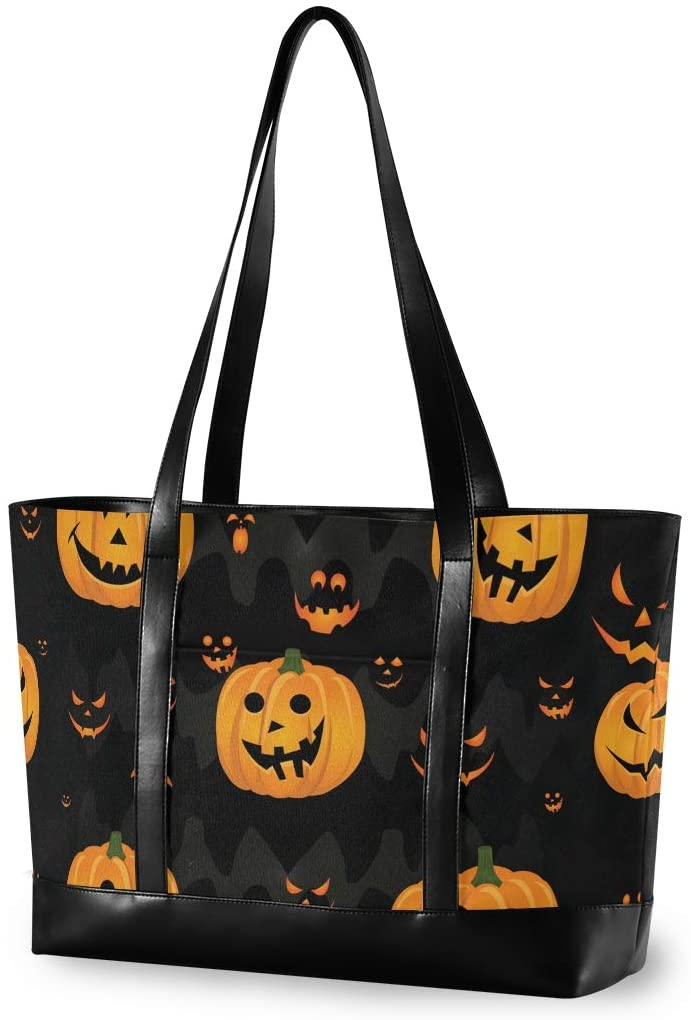 Halloween Large Woman Laptop Tote Bag - Halloween Monster Jack Pumpkin Canvas Shoulder Tote Bag Fit 15.6 Inch Computer Ladies Briefcase for Outdoor Activities