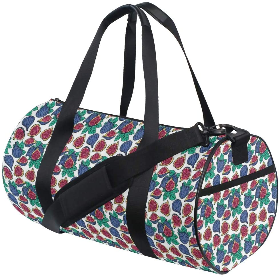FAKAINU Travel Tote Duffel Bag Hand Drawn Style Pattern Of Ripe Juicy Fig Fruit Cut In Half With Green Leaves Gym Bag Outdoor Travel Sports Shoulder Weekend Carry on Handbag