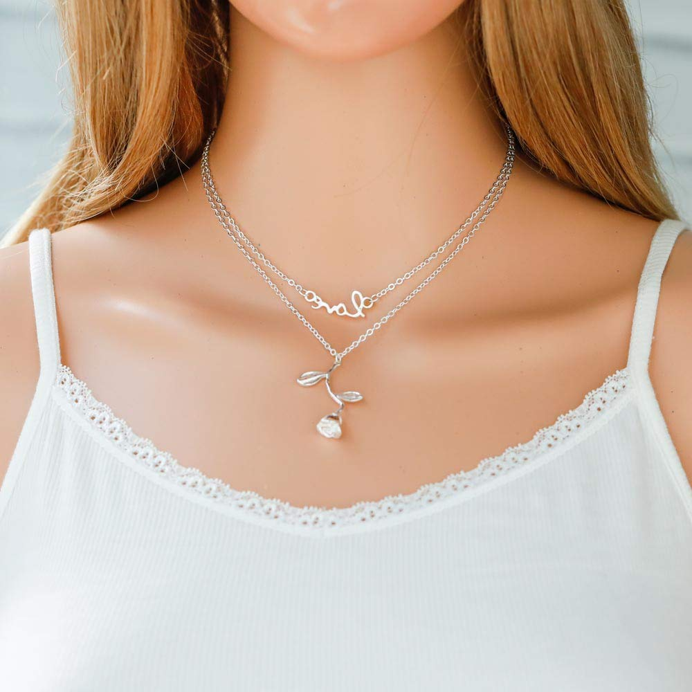 Jovono Fashion Multi - Layer Necklace with Rose and Love Pendant For Women and Girls (Silver)