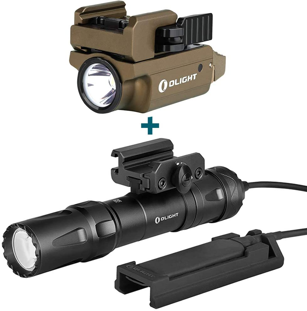 OLIGHT PL-Mini 2 Valkyrie 600 Lumens Magnetic USB Rechargeable Compact Weaponlight with Adjustable Rail Desert Tan, Bundled Odin 2000 Lumens Rechargeable Picatinny Rail Mounted Tactical Flashlight