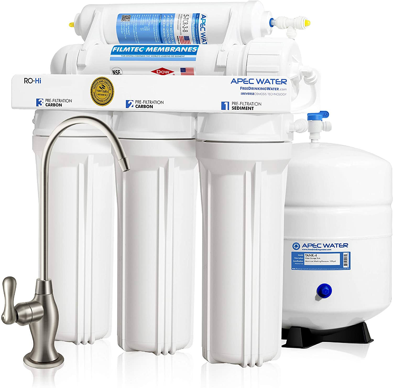 APEC Water Systems Ultimate RO-Hi Top Tier Supreme Certified High Output Fast Flow Ultra Safe Reverse Osmosis Drinking Water Filter System, 90 GPD
