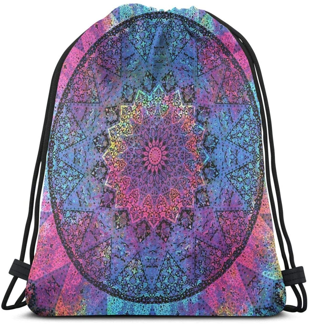 Indian Hippie Bohemian Drawstring Bags Big Capacity Gym Bag Sports Bags Lightweight Drawstring Backpack Water-Resistant Pull String Bags Multifunctional Party Supplies For Men Women