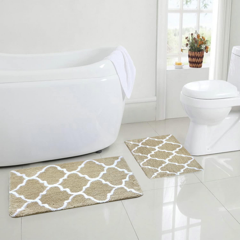EZON-CH Modern Non Slip Bathroom Bath Shower Lattice Mat Toilet Geometry Floor Rug Carpet Pad(Beige)(18x26IN)
