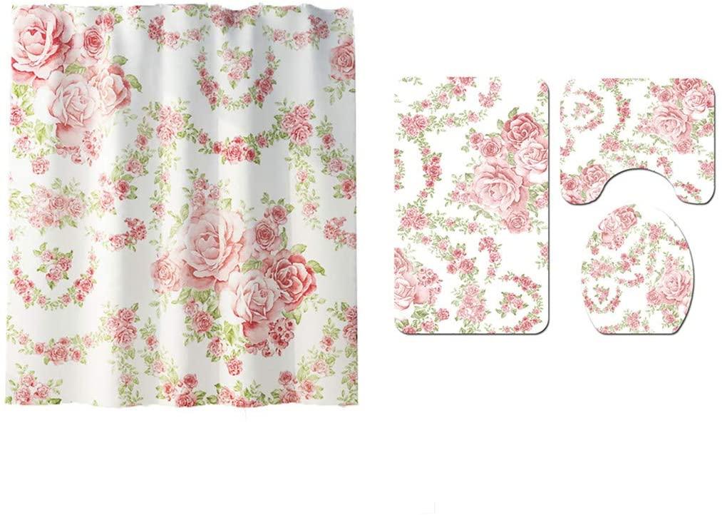 Bathroom Curtains Set Floral/Flower Rose Print Shower Curtain Contour Rug Carpet Lid Cover Set Non-Slip for Women & Girls Bath/Shower 4 Pcs Toilet Mat Set