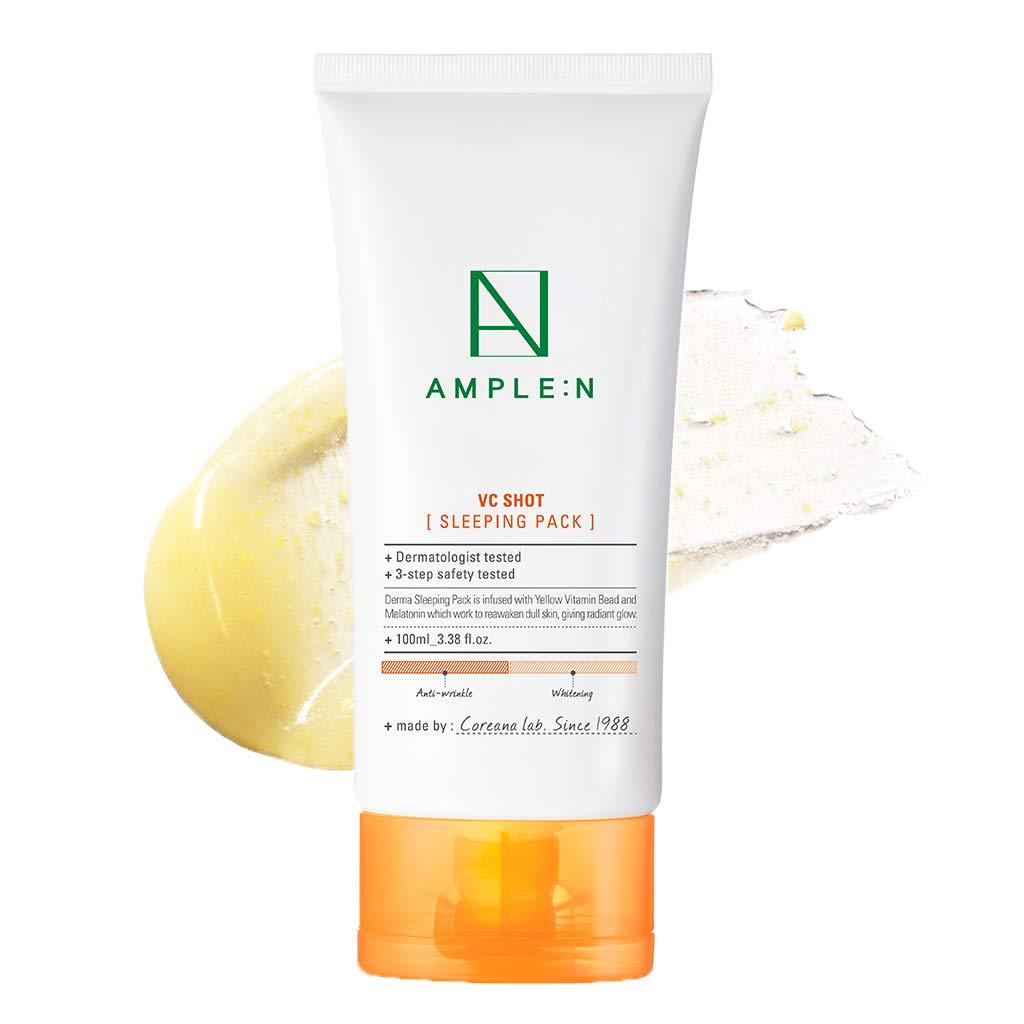 [AMPLE:N] VC Shot Sleeping Pack 100ml - Vitamin C Skin Clearing & Moisturizing Facial Night Treatment Sleeping Gel Mask, Skin Glow & Radiance, Deep Skin Relaxing, Non-Sticky