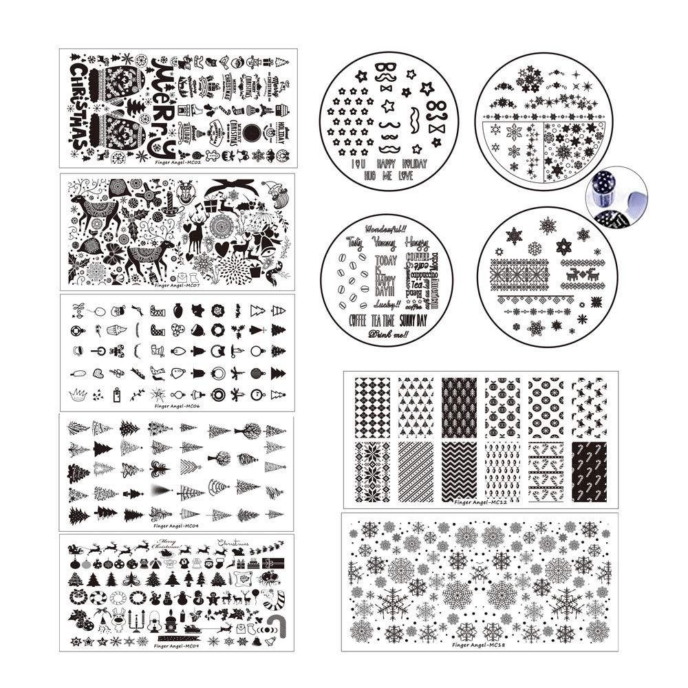 Finger Angel 10 Nail Stamping Plates + 1 Stamper + 1 Scraper DIY Nail Art Image Stamp Christmas Design Stamping Plates Manicure Template