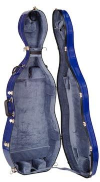 Bobelock 4/4 Cello Case in Blue/gray w/ Wheels Fiberglass Suspension