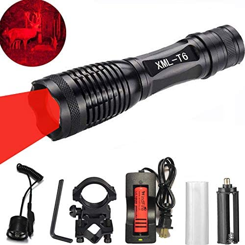 WINDFIRE WF-E6 CREE Red LED Hunting Light Zoomable Flashlight Cree LED Coyote Predator Hunting Light Kit with Remote Pressure Switch, Barrel Rail Rifle Mount, 18650 Rechargeable Battery