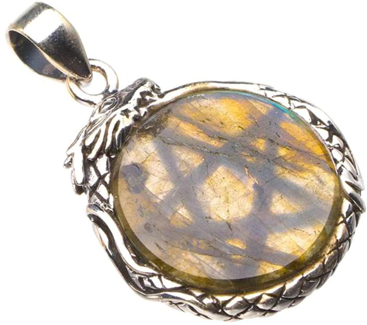 Natural Blue Fire Labradorite Dragon Divination Handmade 925 Sterling Silver Pendant 1.5 D2200