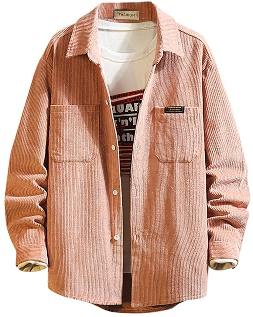 WINJUD Mens Jackets Autumn Winter Corduroy Coats Long Sleeve Brief Solid Pocket Casual Top