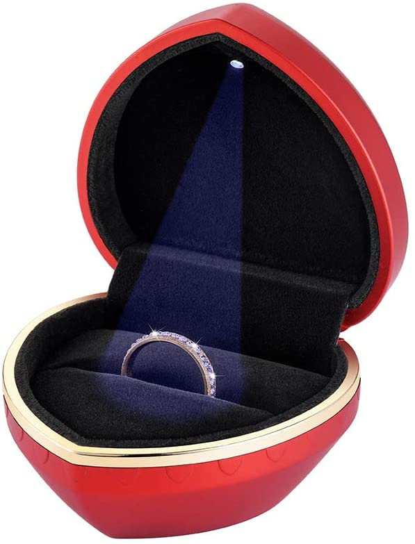 Velvet Ring Box with LED Light Heart Shape Jewelry Display Gift Box Jewellery Case Organizer for Proposal Engagement Wedding Christmas, Valentine's Day Anniversary Red
