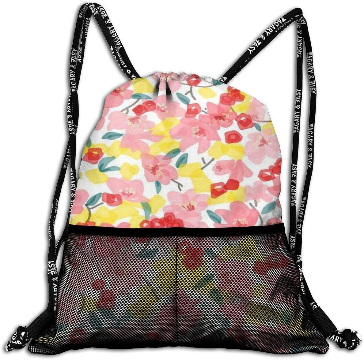 Floral Bundle Backpacks Large Drawsting Bag String Bag for Teens