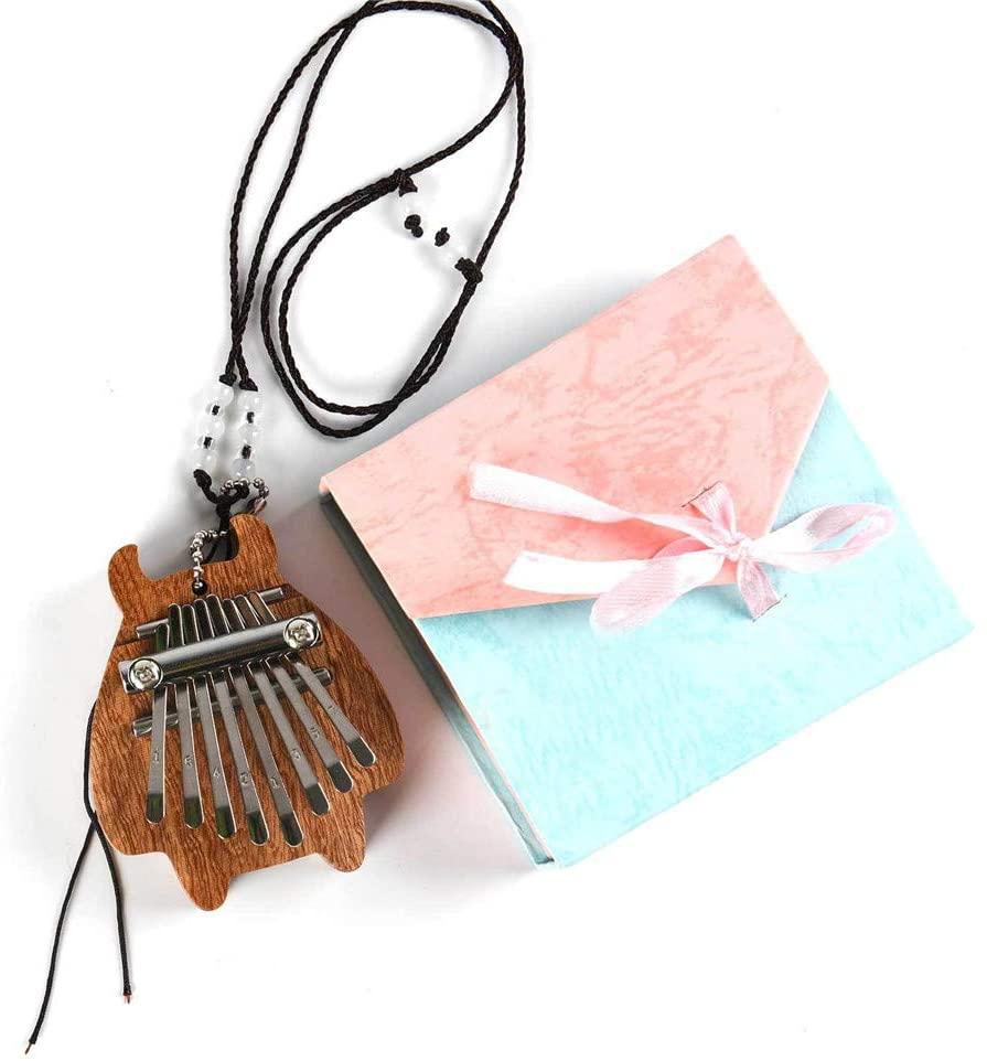 LI&muzi 8 Key Mini Kalimba Finger Thumb Piano Marimba Musical Good Accessory Pendant Gift with Gift Box