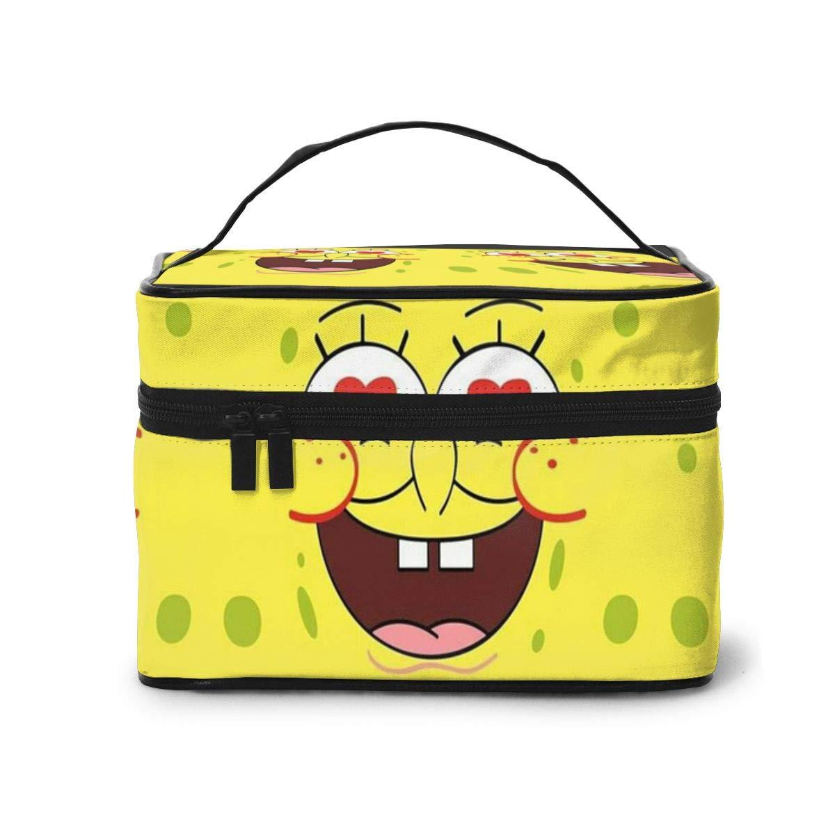 Makeup Bag, Love SpongeBob Travel Portable Cosmetic Bag Large Pouch Mesh Brush Organizer Toiletry Bag for Women Girls