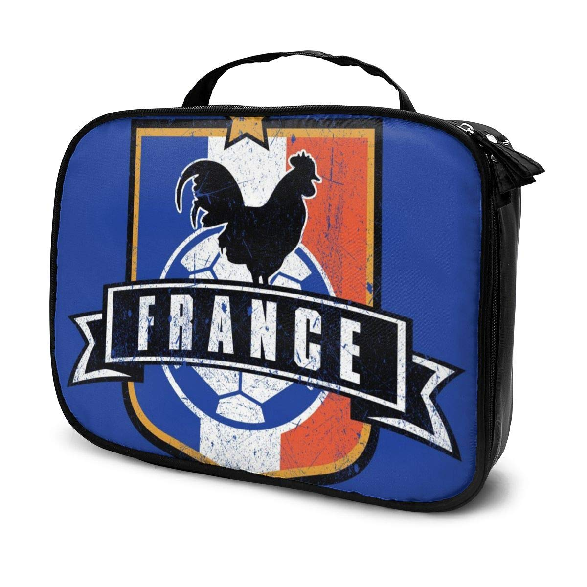 Multi-Functional Bag With Compartments Euro 2016 Football France Shield Blue Professional Cosmetic Pouch Travel Kit Makeup Boxes Makeup Bag