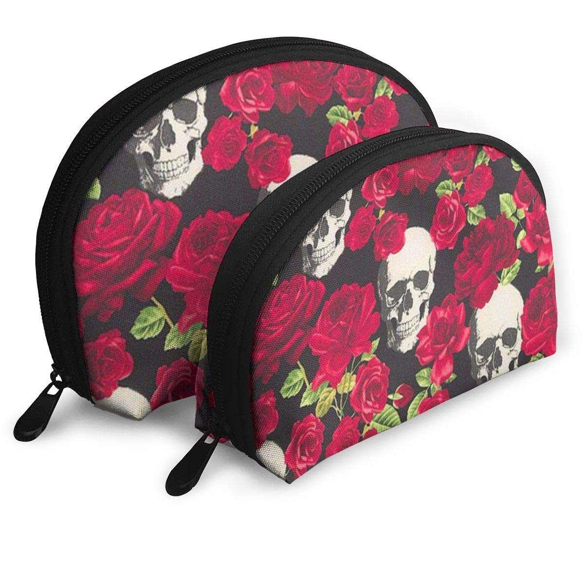 Half Moon Cosmetic Beauty Bag,Skull Rose Handy Cosmetic Pouch Clutch Makeup Bag For Women Girls