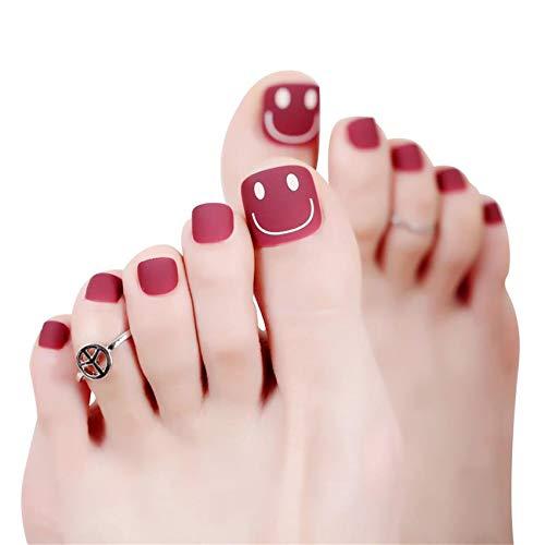 24pcs Matte False Toenails for Women Smiling Fake Toenails Acrylic Feet Nails Sticker On Toe Nails Wine Red