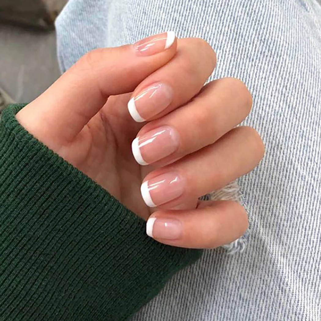 Bmirth Short Press on Nails Square Fake Nails Nude False Nails French Nial Tips Clip on Nails Glossy Full Cover Nails Acrylic Nails for Women and Girls
