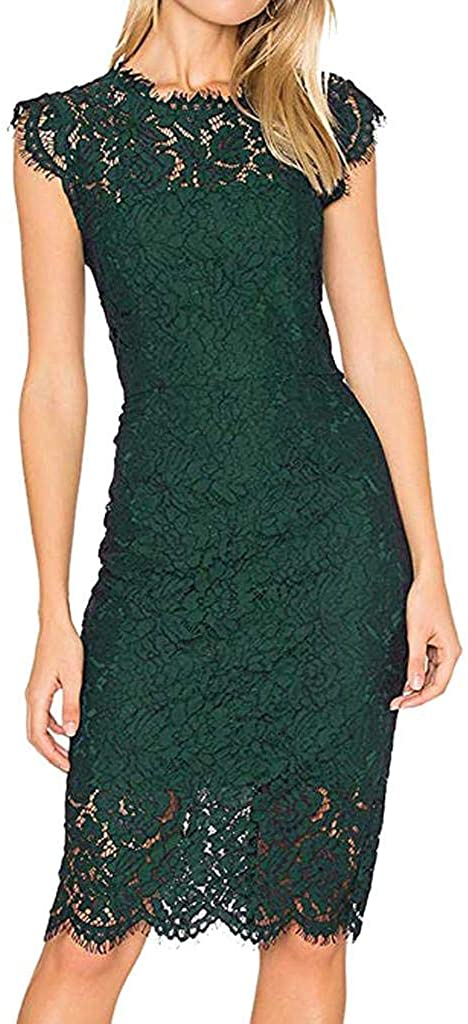 terbklf Lace Dresses for Women Women's Sleeveless Lace Floral Elegant Cocktail Dress Crew Neck Knee Length for Party
