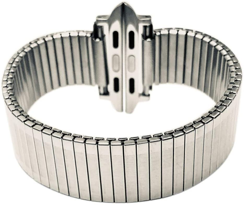 Stainless Steel Metal Expansion Band for Apple 38mm/40mm 42mm/44mm Expansion Wide Stainless Steel Metal Watch Band Metal Watch Band Stainless Steel Classic Expansion 6 5/8 to 12 Inch Length