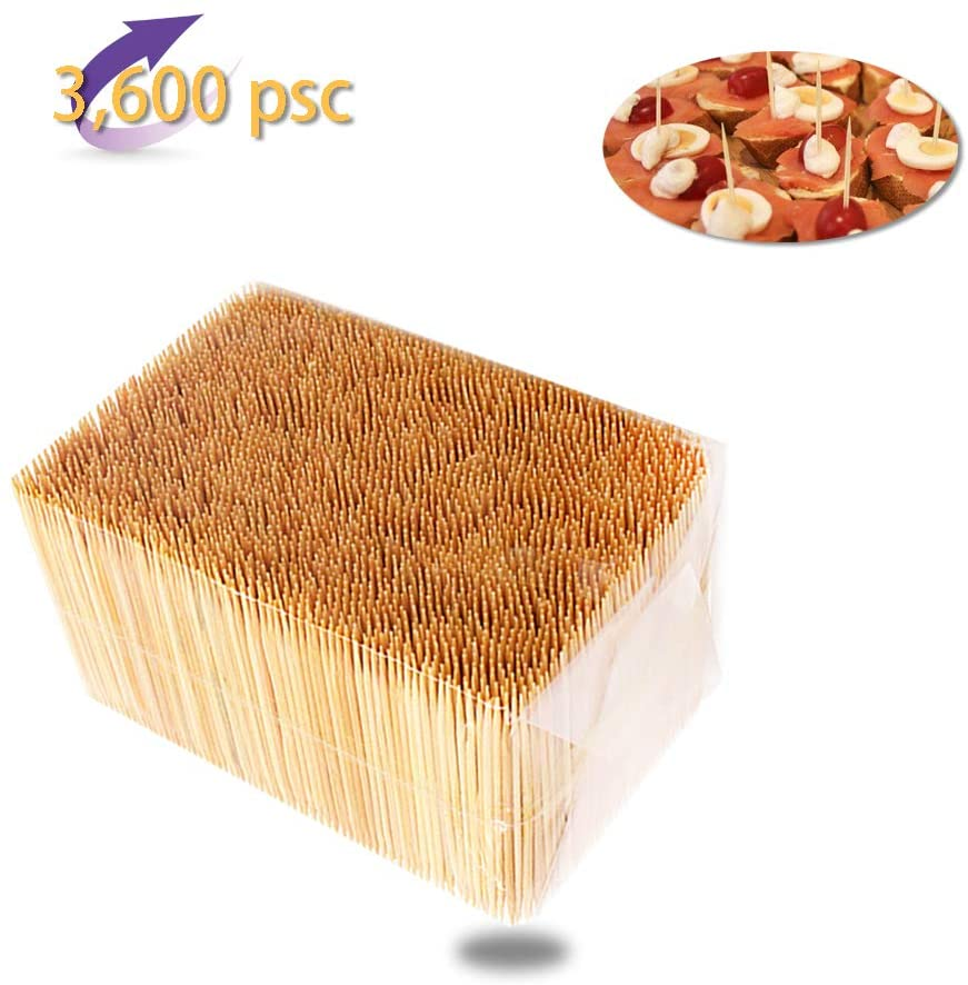 Natural Bamboo Toothpicks 3600 Count,Party Appetizer Olive Barbecue Fruit Picks and Teeth Cleaning Made to Be Precisely Straight and Uniform from Pure Virgin Bamboo-Kitchen Essential Disposable Envir