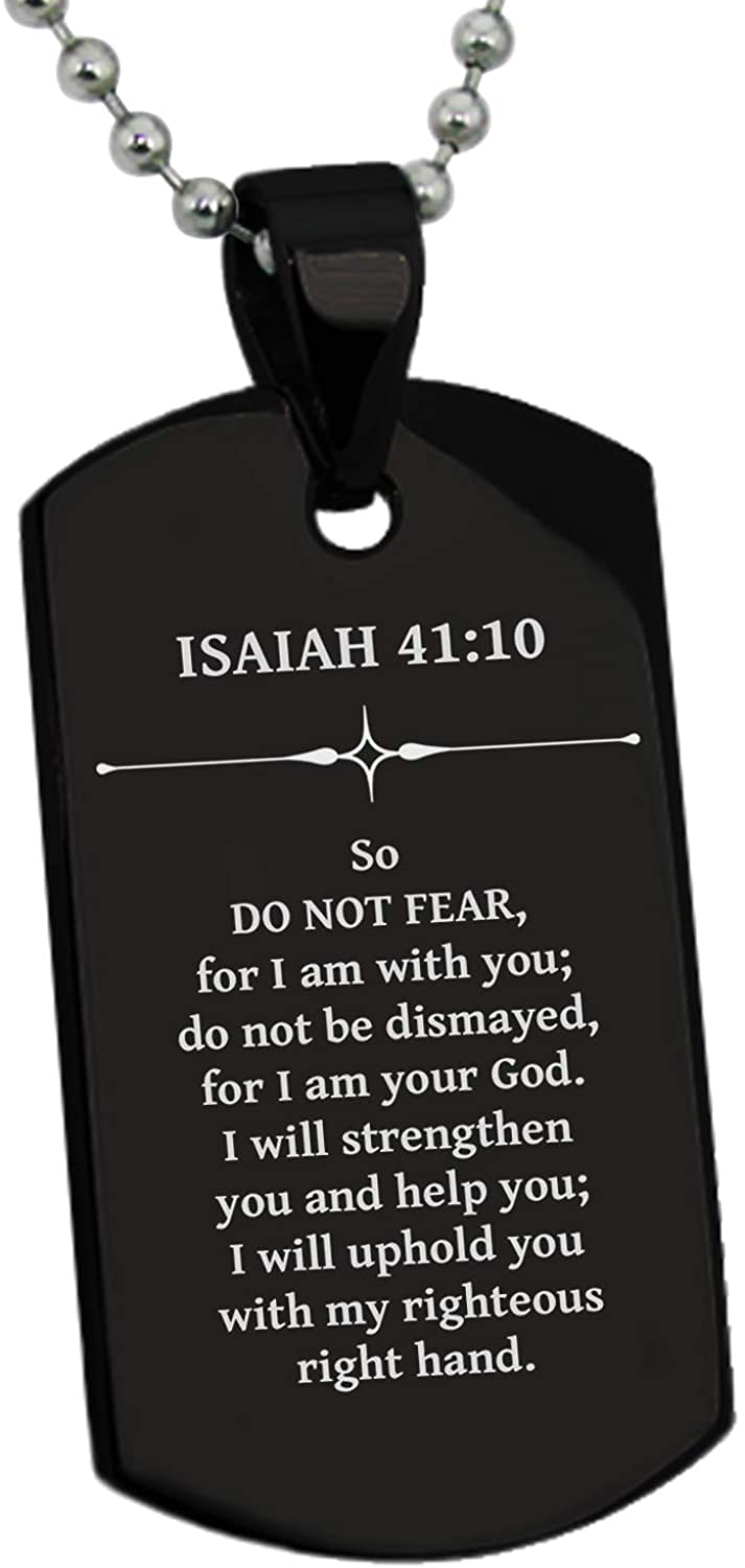 Tioneer Stainless Steel Do Not Fear Isaiah 41:10 Dog Tag Pendant Necklace