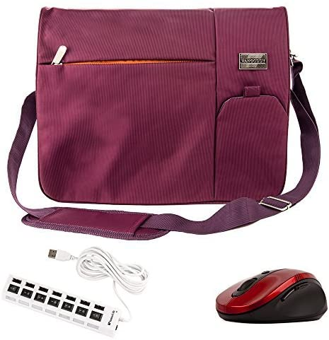 Vangoddy Nylon Cloth Laptop Messenger Bag Especially for Gateway NE NV Series 15.6 inch Laptop and Wireless USB Mouse and 7 Port USB 2.0 HUB 6 Foot Cable (NV570P25u, NV570P25u, NV570P31u) Purple