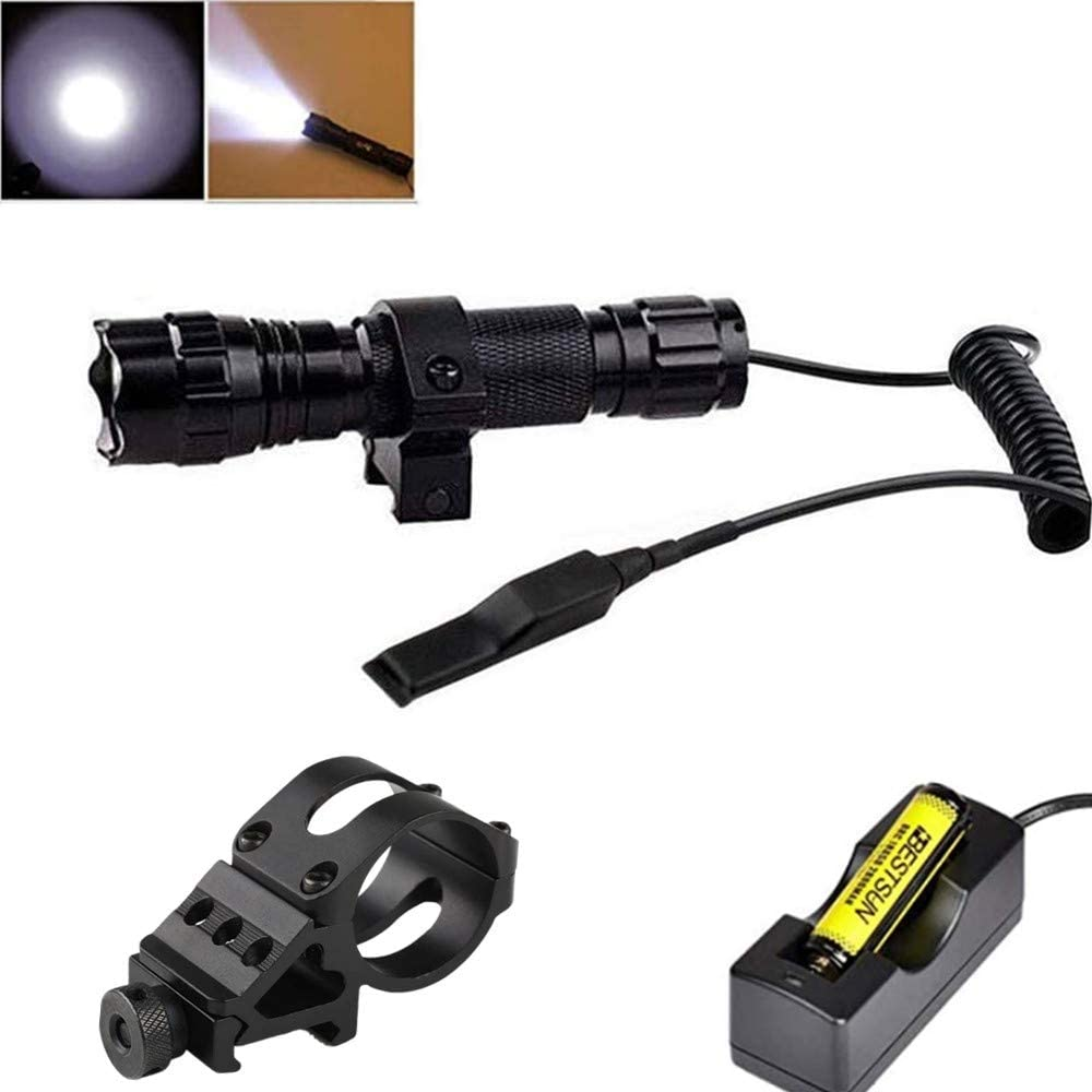 BESTSUN 1200 Lumen Super Bright Tactical Flashlight with Picatinny Rail Mount, Pressure Switch Battery Charger and 1