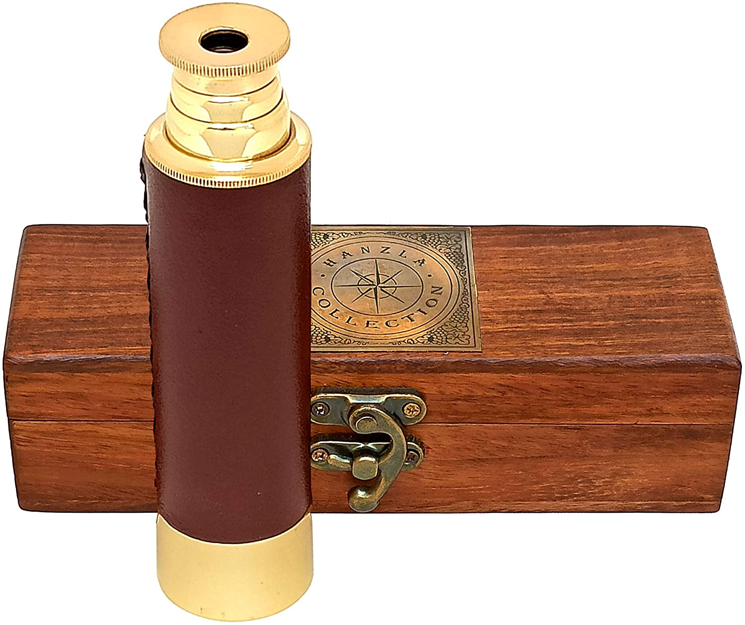 Hanzla Collection Leather Stitched Polished Brass Handheld Telescope 14