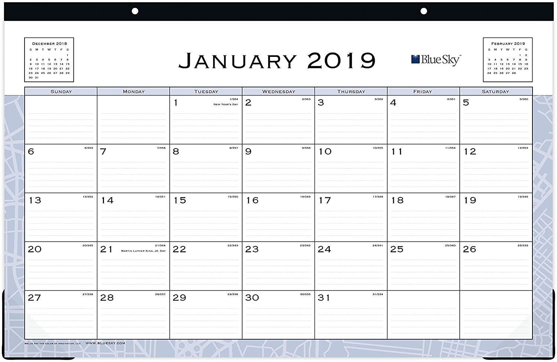 Blue Sky 2019 Monthly Desk Pad Calendar, Ruled Blocks, 17