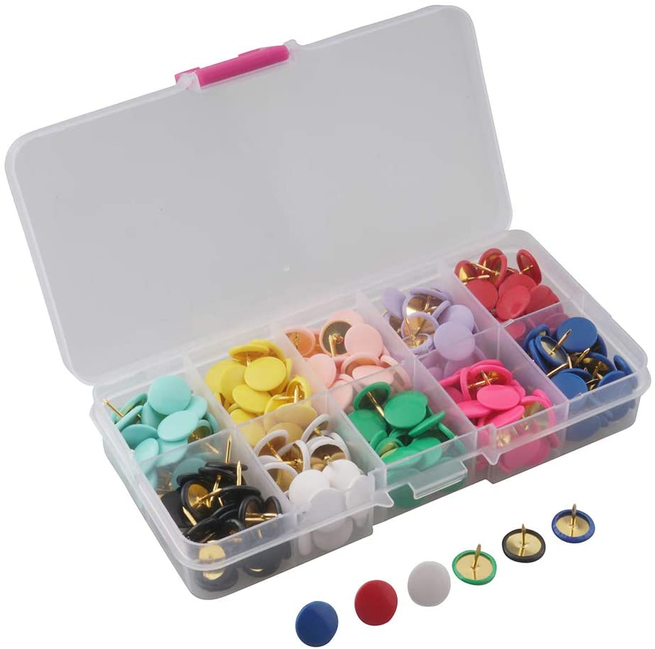ALLinONE 300pcs 10 Colors Push Pins Thumb Tacks Map Tacks with Box for Bulletin Cork Board Office Fabric Marking DIY