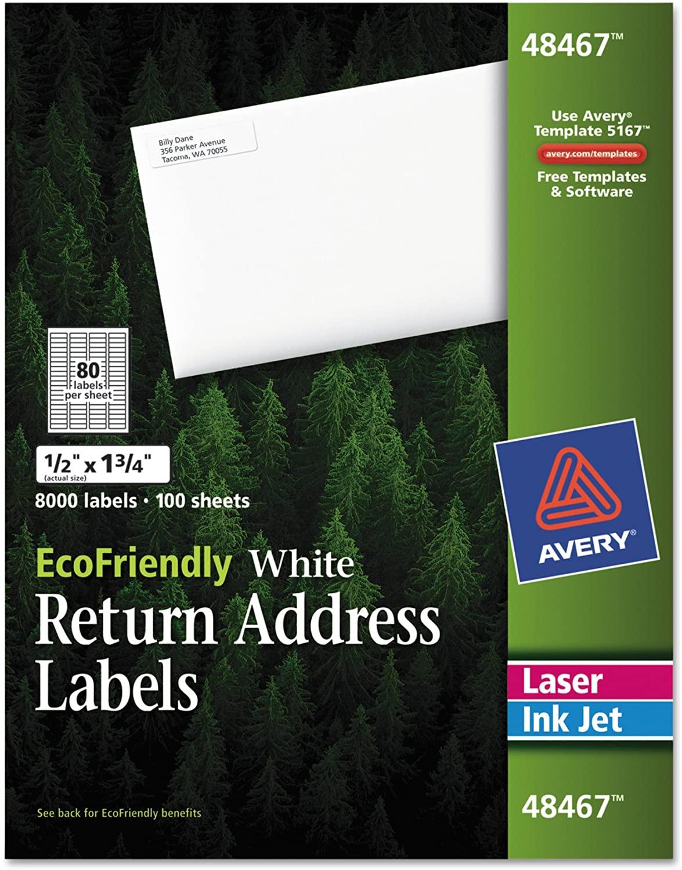Avery White EcoFriendly Return Address Labels, 0.5 x 1.75 Inches, Box of 8000 (48467)