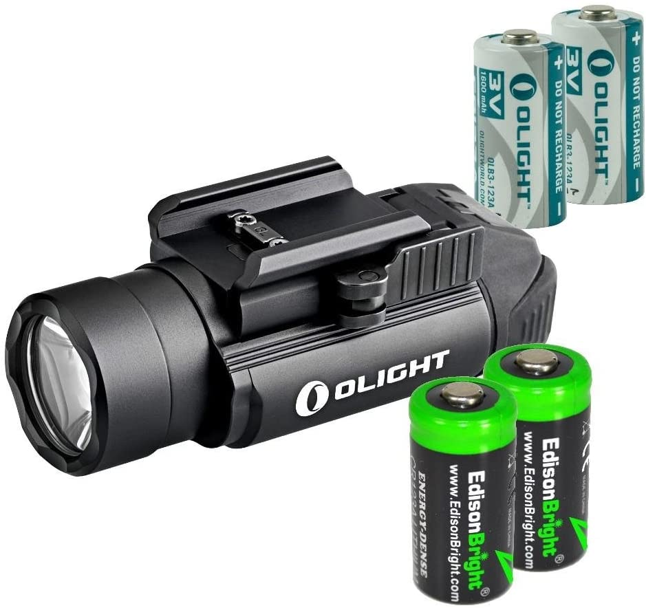 EdisonBright Olight PL2 (PL-2) Valkyrie 1200 Lumen LED Pistol Light with 2 X CR123A Lithium batteies Bundle