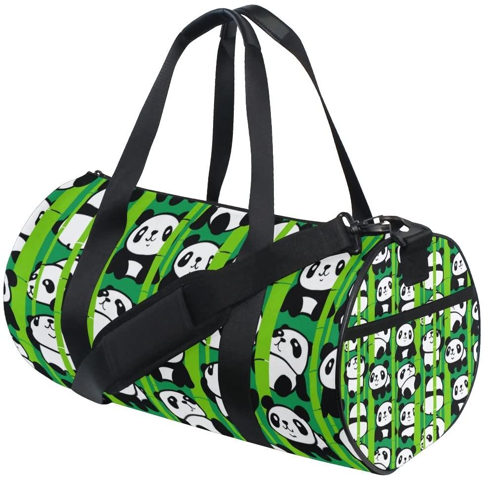 My Little Nest Sports Gym Bag Pandas Bamboo Forest Lightweight Travel Duffel Bag for Women Men