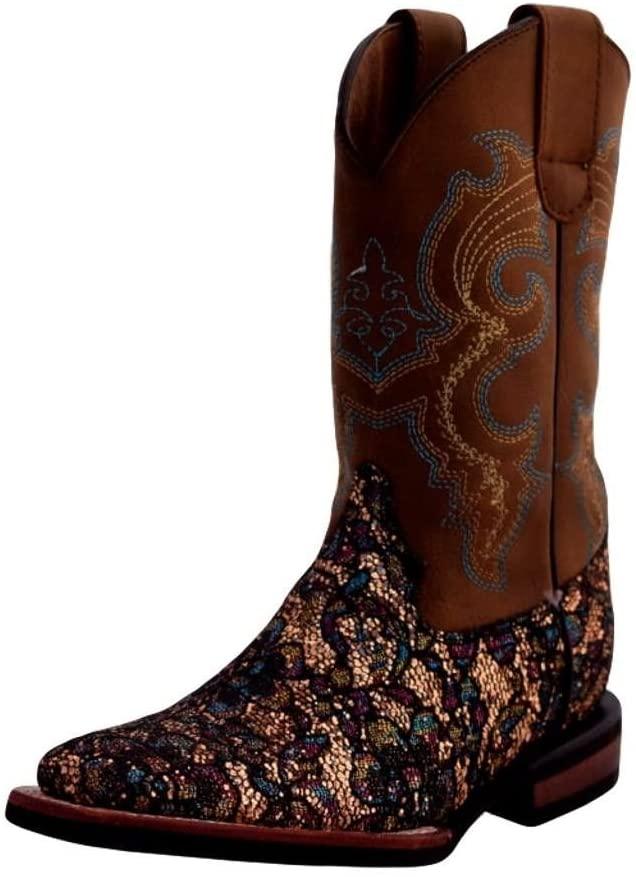Ferrini Girls Sparkle Lace Cowgirl Boot Square Toe