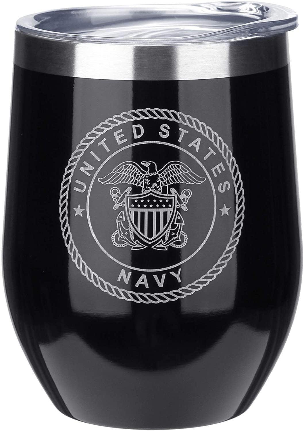 FAYERXL Personalized Stainless Wine Tumblers Engraved Wine Glass Cup for Marine Corps/Air Force/Army/Navy/Coast Guard/Police Person (Navy)