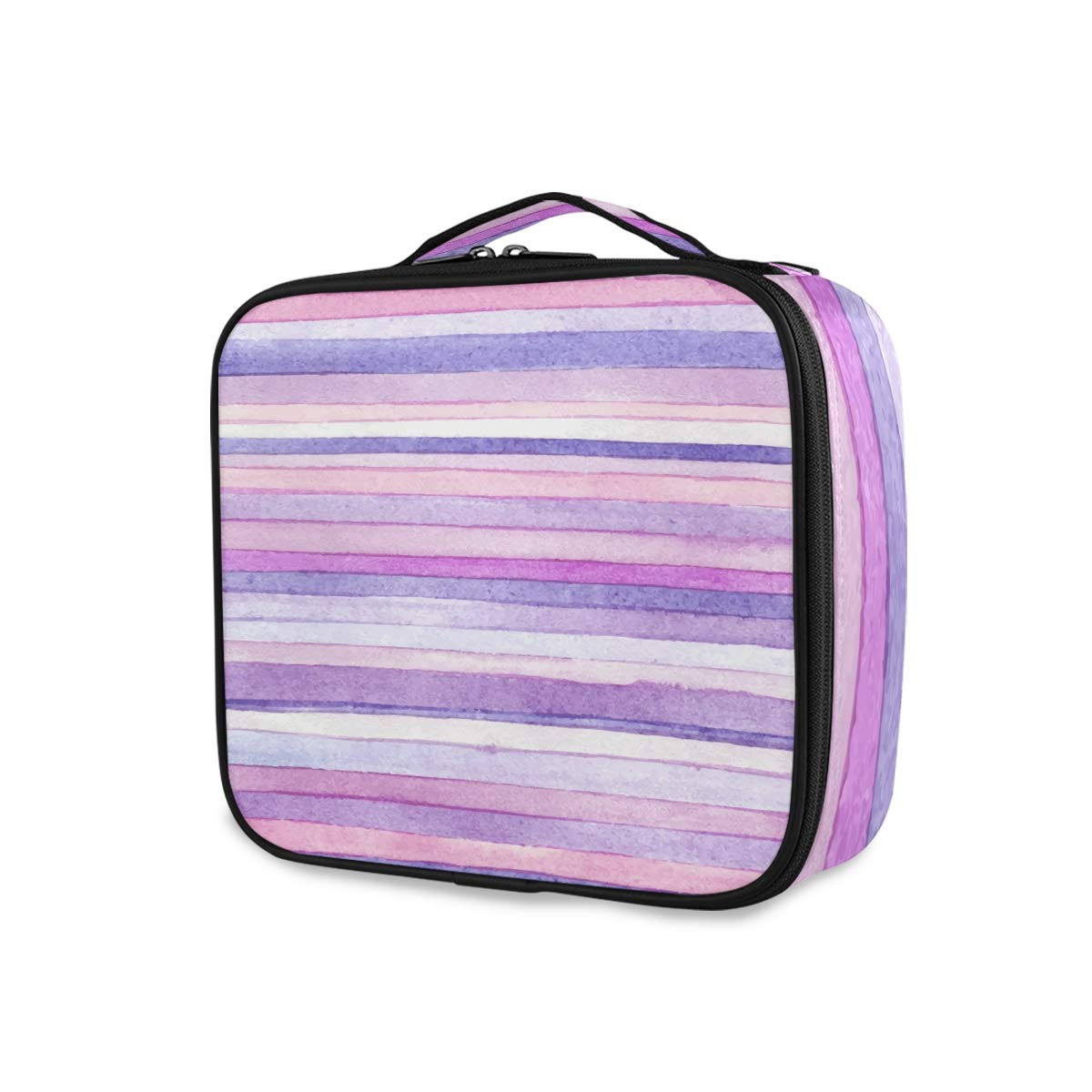 ATONO Striped Watercolor Pink Violet Purple Portable Makeup Bags Professional Cosmetic Toiletry Travel Box Organizer Compartments Case Multifunction Storage Waterproof Adjustable for Girls&Women