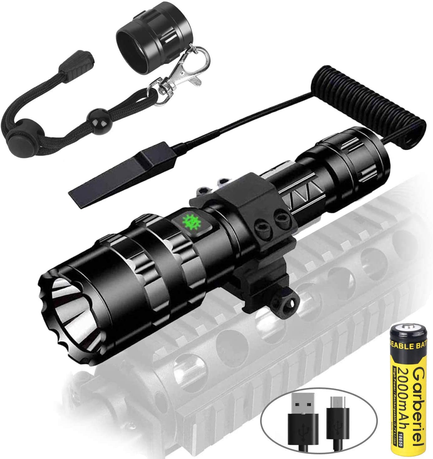 Garberiel 2 in 1 L2 LED Tactical Flashlight with Picatinny Rail Mount - 5 Modes 3000 Lumens Bright Flashlight USB Rechargeable Waterproof Scout Light Torch Hunting Light