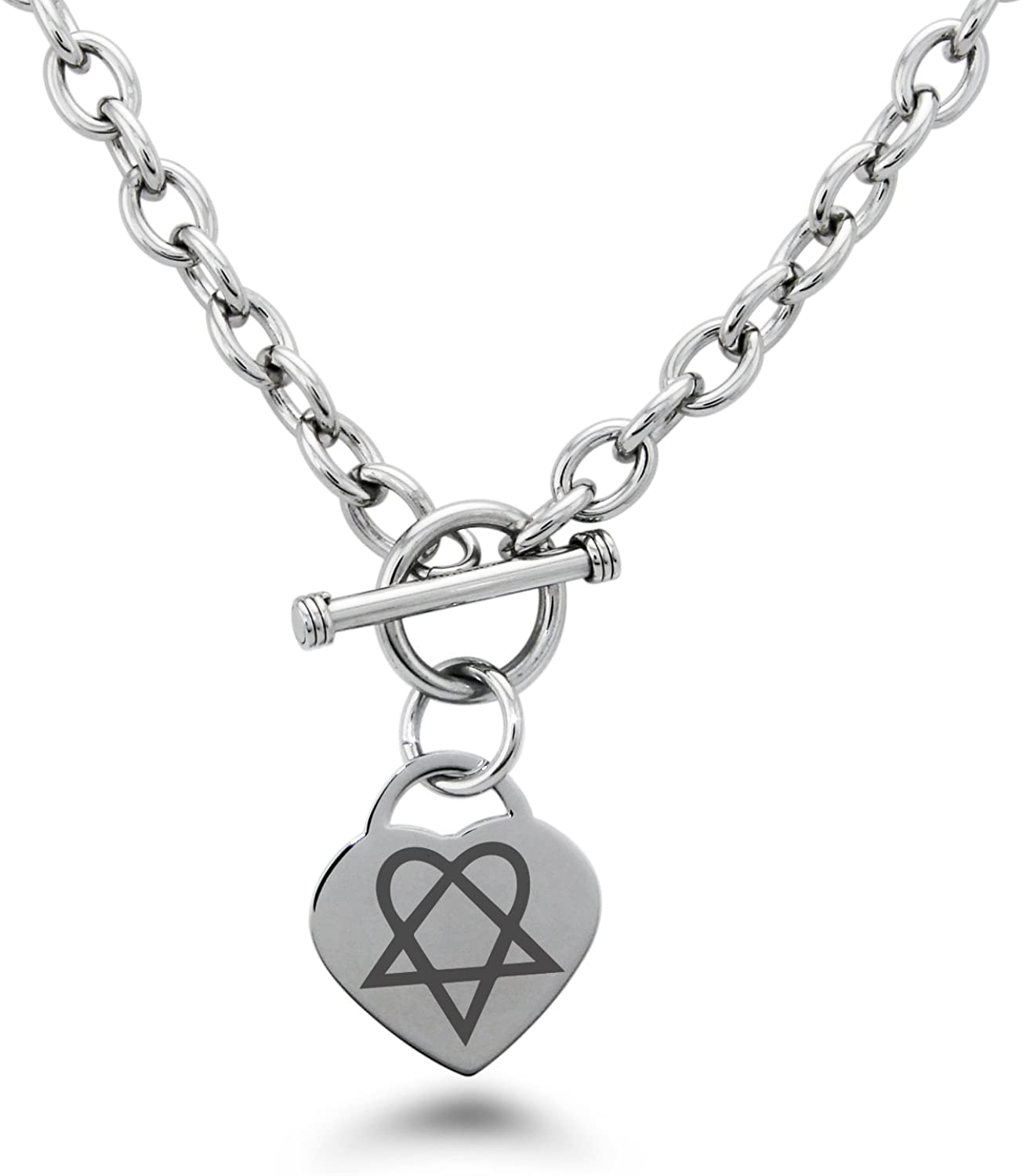 Tioneer Stainless Steel Heartagram Symbols Heart Charm Bracelet & Necklace