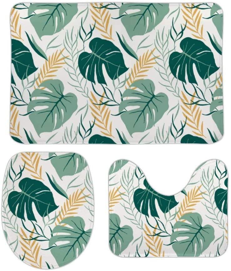 Whimsical Tropical Flowers Print 3 Piece Bathroom Rug Set Bath Mat Shower Rug, U Shaped Contour Mat, Lid Cover Non-Slip with Rubber Backing Mats for Tub Shower Bath Room Home Decor 20