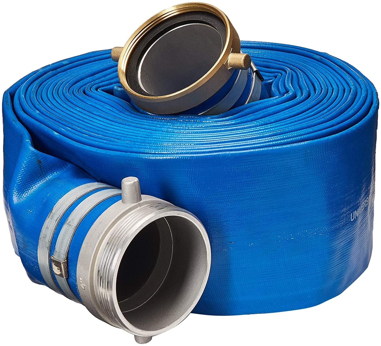 Stanios 4502-4000-PL 4 ID Blue Standard-Duty PVC Lay-Flat Discharge Hose with Pin Lug Fittings (25 Feet)