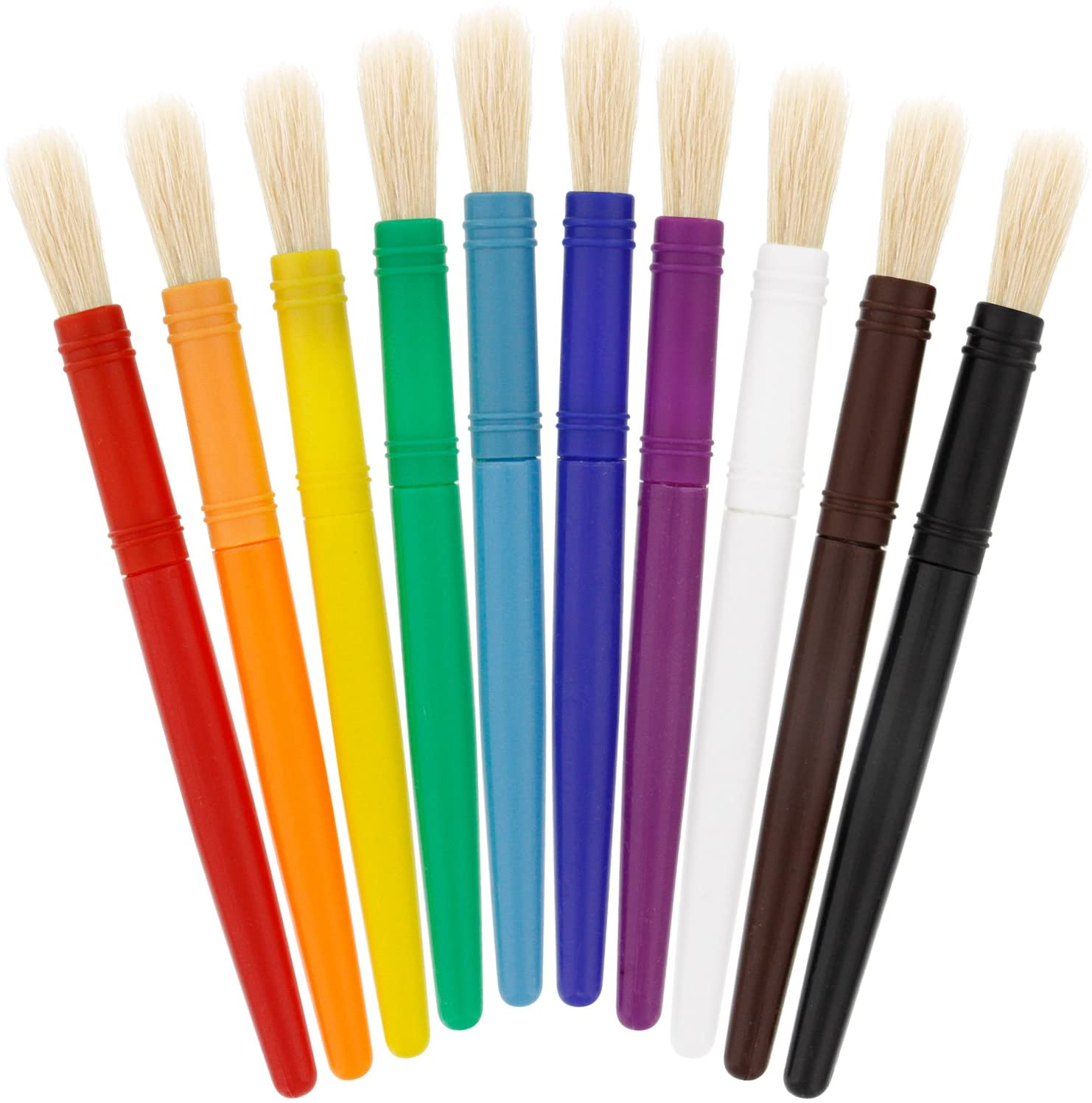 US Art Supply 10 Piece Large Round Chubby Hog Bristle Children's Tempera and Artist Paint Brushes