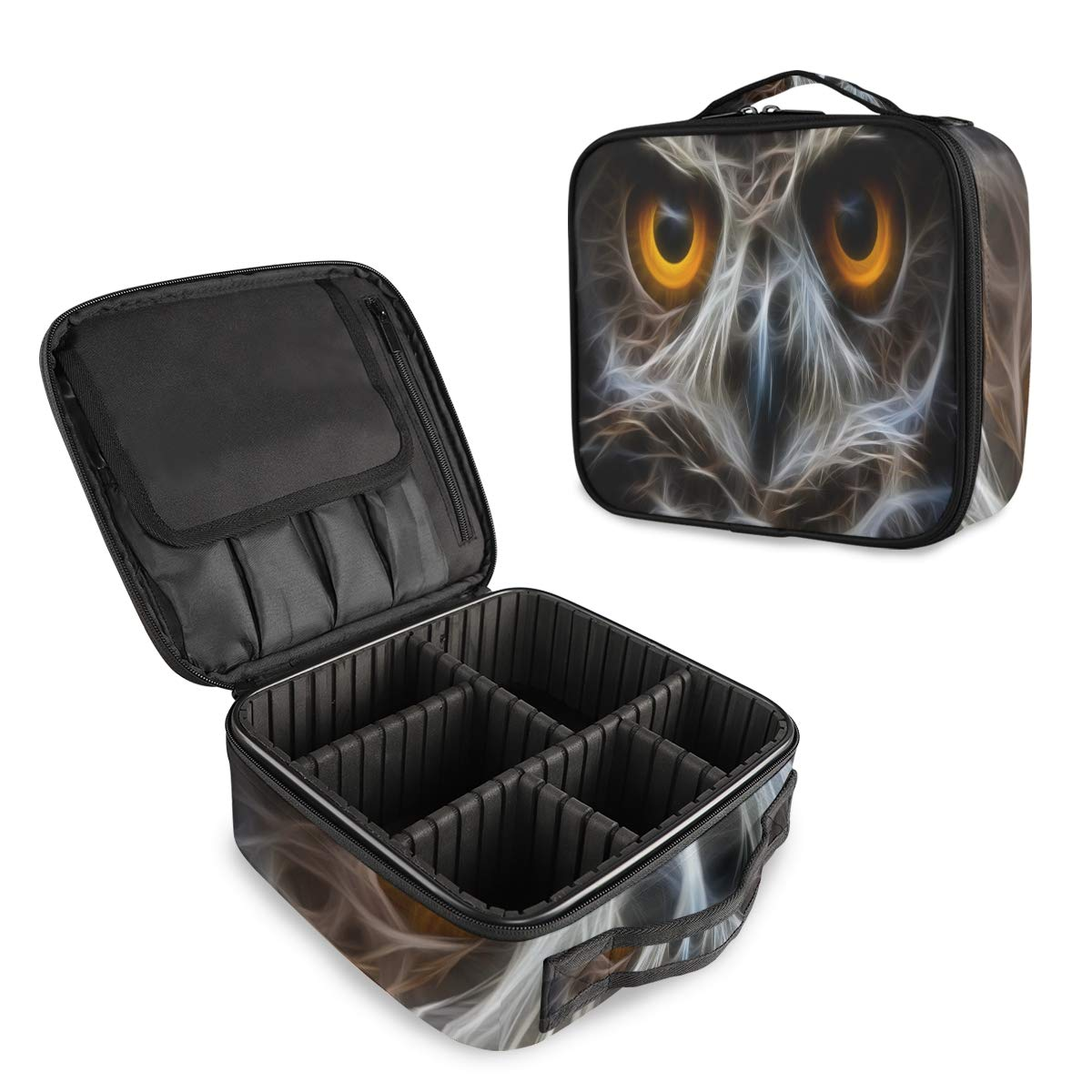 ALAZA Owl Owlet Eye Makeup Cosmetic Case Organizer Portable Storage Bag Travel Makeup Train Case with Adjustable Dividers