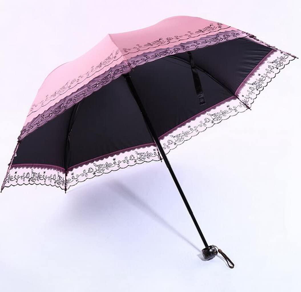 Sucastle Creative, vinyl, shade, umbrella, lace, edge, three fold, umbrella, anti-ultraviolet, rain, umbrella Sucastle:Colour:Pink:size:55cm
