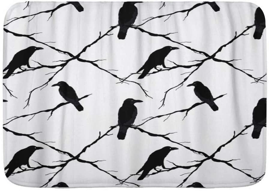 LOSUMIGE Bath Mat,Ravens and Tree Branches Silhouette of Crows in Different,Plush Bathroom Decor Mat with Non Slip Backing, 29.5